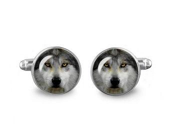 Wolf Cuff Links Grey Wolf Cuff Links 16mm Cufflinks Gift for Men Groomsmen Novelty Cuff links Fandom Jewelry