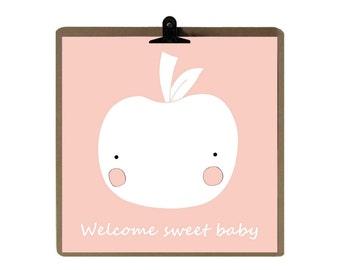 Apple poster / Decoration for children / La Roulotte Magique