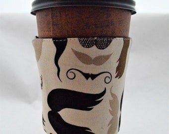 Mustache Coffee Sleeve - Coffee Cozy - Fabric - Reusable