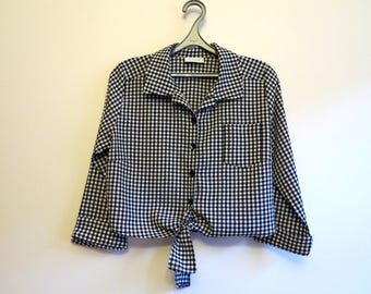 Black White Gingham Plaid Blouse Womens Medium Sleeves Blouse Boho Blouse Midriff Tied Cropped Top Country Style Small Size