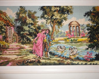 Large Framed Needlepoint Hand Crafted Masterpiece 48 x 23 1/2
