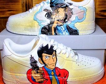 "Custom NIKE air force hand-painted ""LUPIN + JIGEN "" | Custom Nike"