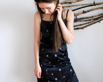Vintage womens summer dress black colour maxi dress 1990s