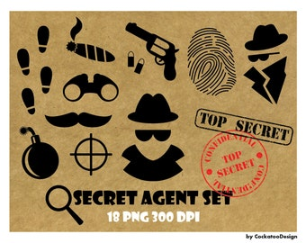 50% OFF SALE, Spy clipart, spy party, top secret stamp, secret agent clipart, fingerprint clipart, bomb, Digital Stamp, Commercial use