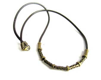 Mens leather necklace, mens bronze leather choker, mens ethnic choker, mens filigree bead leather necklace, mens brown leather necklace