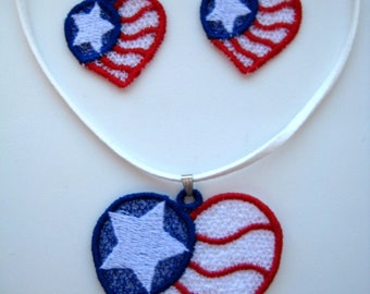 FSL  4th of July American Heart flag, Independence Day Free Standing Lace - Machine Embroidery design 4x4hoop - 1 size, patriotic embroidery