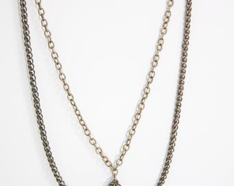 Brass Chain Collar Necklace with Arrowhead Pendant
