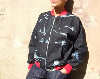 Black Bleached Denim Bomber Jacket Unisex