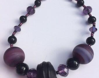 Purple and Black Lobster Clasp Bracelet