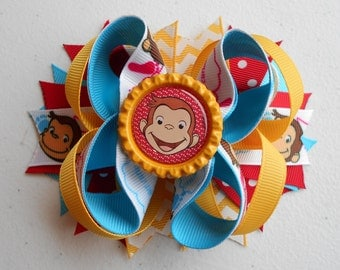 Curious George Handmade Boutique Layered Hair Bow