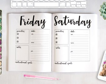 """Daily Dateless Planner - 8.5X11"""" - Handwritten Font - 52 Blank Weeks - Motivational Quote - Priorities - Notes - Schedule - Daily Organizer"""