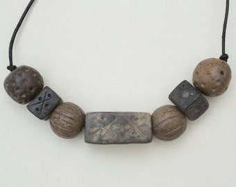 Ceramic Seven Bead Tribal Necklace on Leather Thong