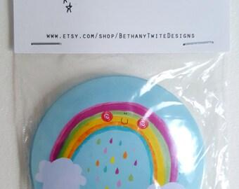 Cheery blue rainbow pocket mirror