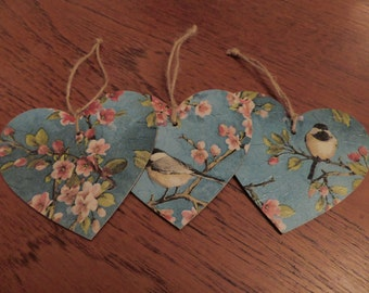 3 Blossom and Bird print Wooden hanging hearts
