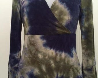 Tie dye stretch fabric/ crossed bodice top with bell sleeves