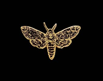 Moth Enamel Pin Badge 'DEATH'S HEAD HAWKMOTH' in Gold & Black, by Vector That Fox