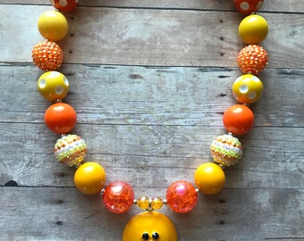 Chick - Chicken - Yellow Chick - Duck - Easter - Yellow - Chunky Bead Necklace