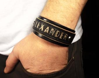 Personalized Leather Bracelet Men custom mens bracelet personalized cuff mens black bracelet brown bracelet mens bracelet