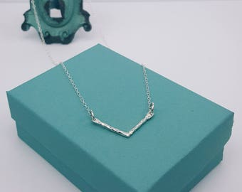 Chevron Necklace | Sterling Silver | Hammered Chevron