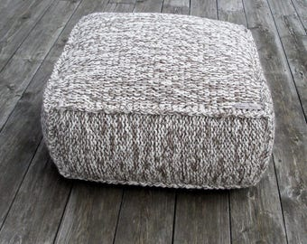 wool footstool-sitting bag-knitting furniture-organic pouf-wool chair-brown footstool-white nursery pouf-brown pouf ottoman-crochetting pouf