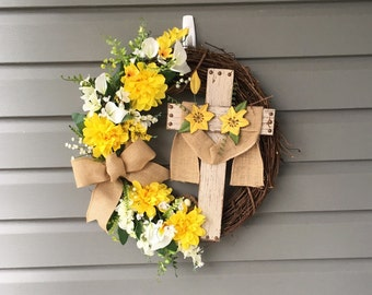 Easter Wreath for Front Door, Religious Easter Grapevine Wreath, Yellow Wreath, Spring Wreath, Easter Wreath, Rustic Wreath, Cross Wreath