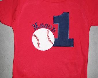 First Birthday Baseball Shirt. Personalized Birthday Shirt. Kids Applique Birthday Top. Red Shirt. Navy Number.