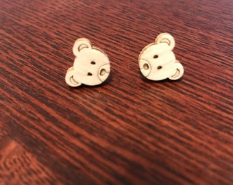 Wooden Bear Face plastic post earrings *Perfect for toddler/small/sensitive ears*