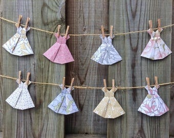 Dress Garland, Paper Dress Banner, Ten Handmade Origami Dresses