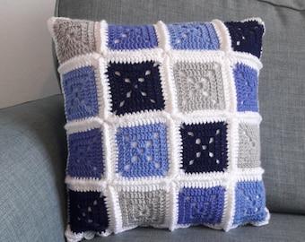 Crochet square cushion; Patch cushion; Blue cushion