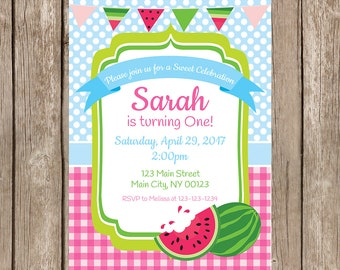 Watermelon Birthday Party Invitation, Watermelon Invitation, Watermelon Party Invitation-Digital