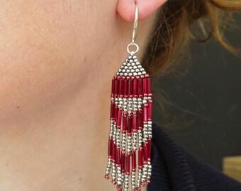 Red Boho Earrings Native American Style Earrings Red Dangle Earrings Brick Stitch Earrings Bohemian Earrings