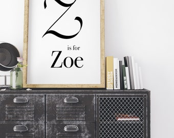 Zoe, Calligraphy Print, modern calligraphy, Typography Print, Baby Boy Print, Typography Wall Art, Monogram Print, Z Letter print