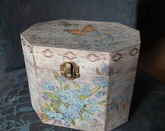 Decorative Wooden box. Storage box. Jewelry box. Vintage box. Provence style box.
