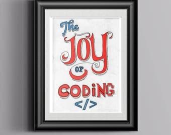 The joy of coding poster, Wall Art, Printable Art, DIY poster, print decoration