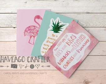 Fun and inspirational quote postcards / notecards - series 1