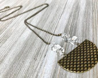 Modern Clear Quartz Pendant Necklace // Long Necklace // Natural Stone Necklace // Boho Necklace // Unique Necklace // Gift for Her