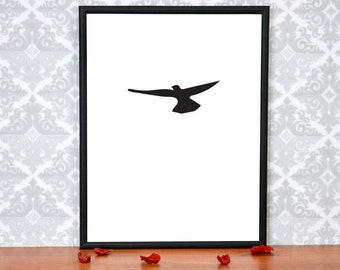 Minimalist Black and White Crow Art Prints, Digital, Raven Print, Bird print, Bird Art Print, Crow Art Print, Digital Wall Decor