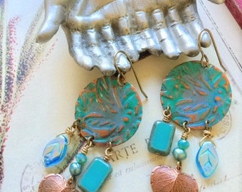 Stamped - Painted - Turquoise - Copper - Hearts - Earrings