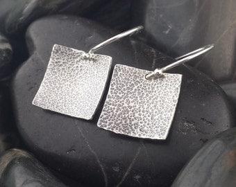 Small Square Sterling Silver Earrings, Sterling Silver Earrings, Hammered Earrings, Oxidized, Patina, Minimalist earrings, Geometric Earring