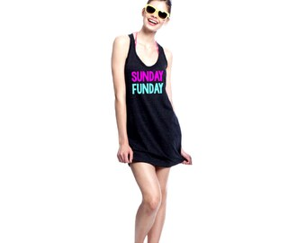 Sunday Funday - Women's Beach Cover Up - Beach Dress - Swimsuit Coverup - Summer Dress - Pool Cover Up - Beach Please - Funny Summer Dress