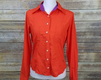 Tommy Hilfiger 90s TOMMY JEANS Orange Cropped Button Down Shirt Women's Size Large 10 | Vintage 1990s Clothing