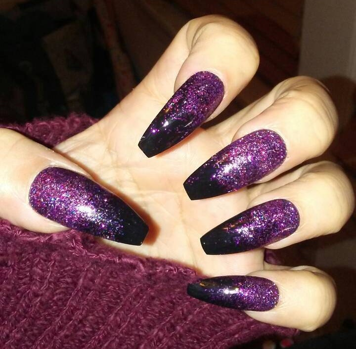 Black Coffin Nails w/ Pink & Purple Glitter, Long or Short ...