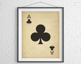 Ace of Clubs, Playing Card Art, Game Room Decor, Game Room Art, Poker Gifts, Gambling Gift, Vintage Wall Art, Man Cave Art, Bar Decor