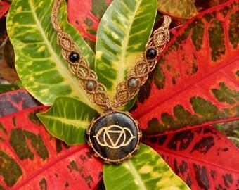 Blue Aventurine - Third Eye Chakra Macrame Necklace
