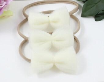 The Emma // pearl // tulle // bow //baby bow headband or hair clip