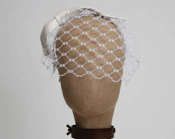 Birdcage Veil Headband, White Bow Headband, Wedding Headpiece, Bridal Veil