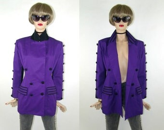 Purple blazer with button detailing, two colored - purple front - black back with button detail rare jacket vintage 1980's