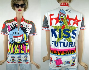 WALTER VAN BEIRENDONCK, Kiss the Future,''Play Safe'' cycling shirt, 1996 vintage, stand up collar, a front zip fastening, 'Wild and Lethal'