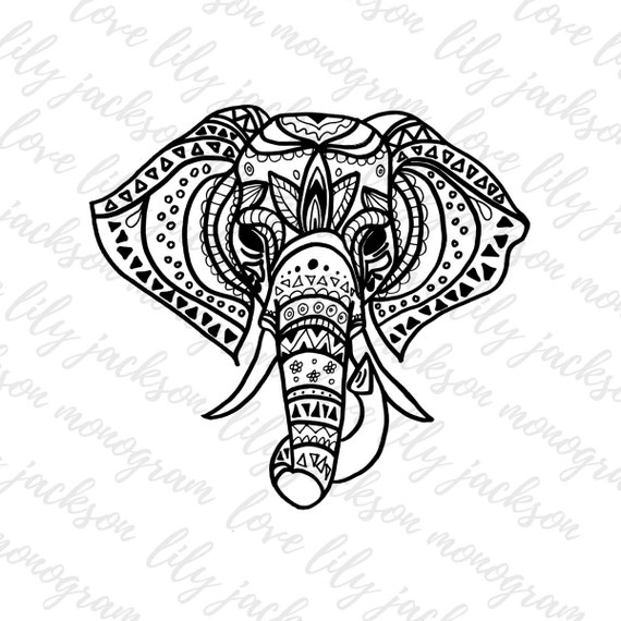 Tribal Elephant Cut File SVG PNG JPeg Coloring Book