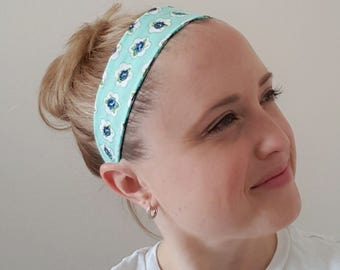 Floral headband, adult headband, women's headband, blue floral, aqua blue, elastic headband, hair wrap, exercise accessories, yoga headband